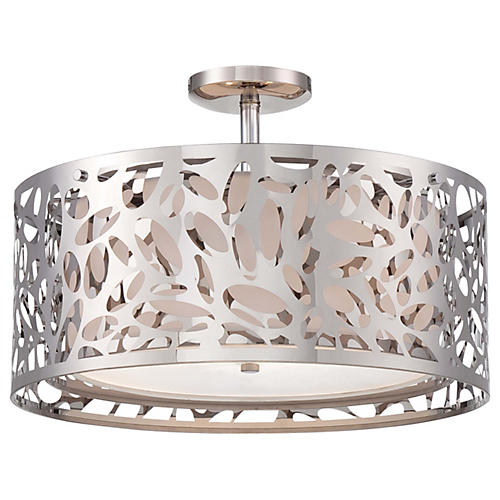 Layover 2-Light Semi-Flush Mount, Chrome