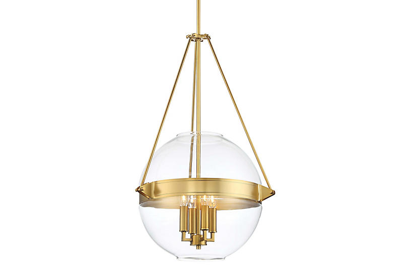 Atrio 4-Light Globe Pendant, Liberty Gold