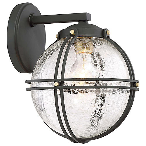 Rond Outdoor Wall Mount, Black/Crackle