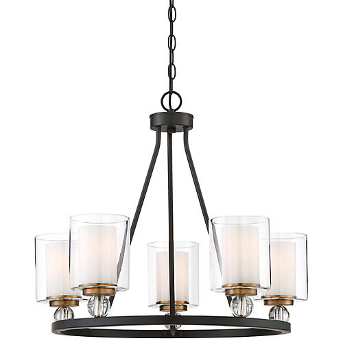 Studio 5-Light Chandelier, Bronze/Brass