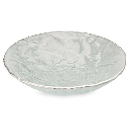 "11"" Ginkgo Glass Bowl, Silver"