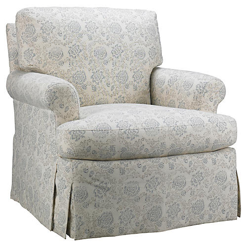 Skirted Chair, Light Blue Floral