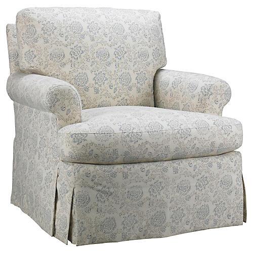 Skirted Chair, Light Blue Floral