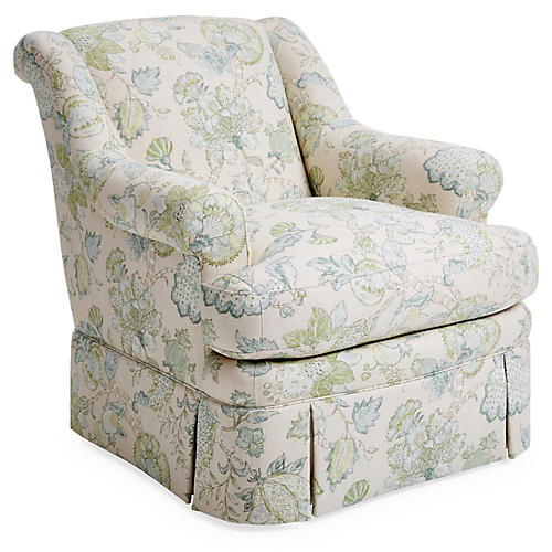 Lawford Club Chair, Green/Natural