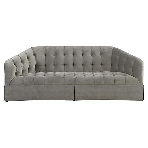 Tufted Sofa, Gray Velvet