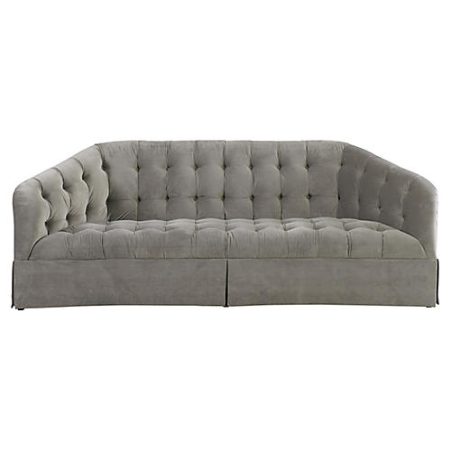 Tufted Sofa, Gray Velvet