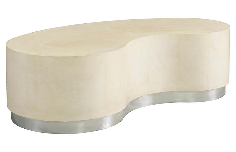 Lambert Coffee Table, Ivory Leather