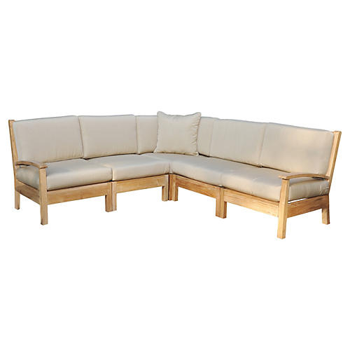 Teak Sectional Deep-Seating Set, Canvas