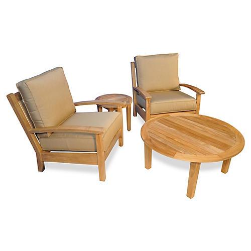 Teak Deep-Seating Conversation Set