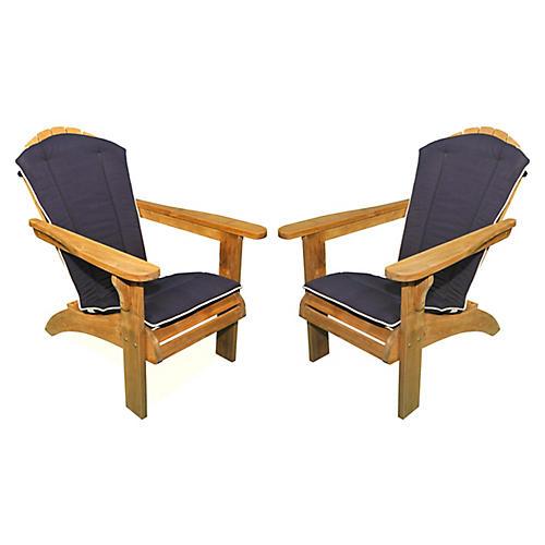Teak Adirondack Chair w/Navy Cushion