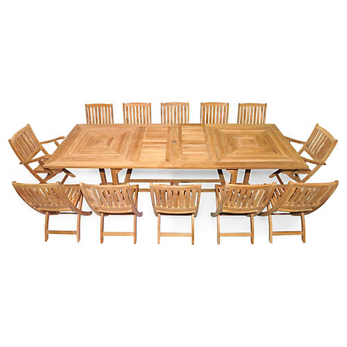 Nantucket Extension Dining Set, Teak