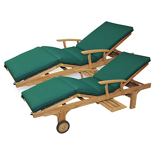 Cleo Teak Chaises, Forest Green