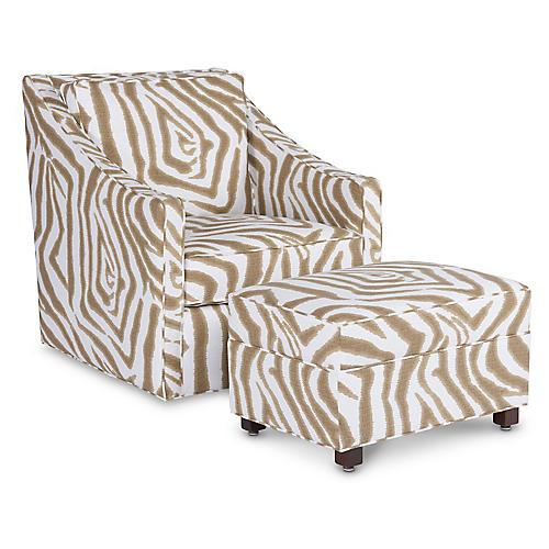 Baron Swivel Chair & Ottoman, Sand/Ivory