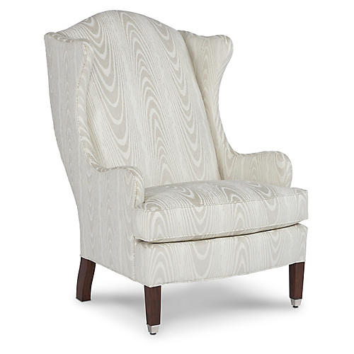 Caden Wingback Chair, Faux Bois Crypton