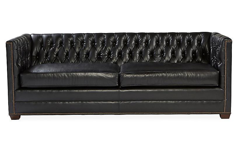 Ames Tuxedo Sofa, Black Leather