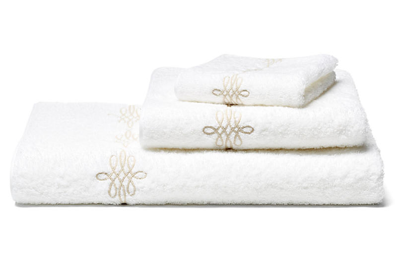 Bernini 3-Pc Towel Set - Champagne