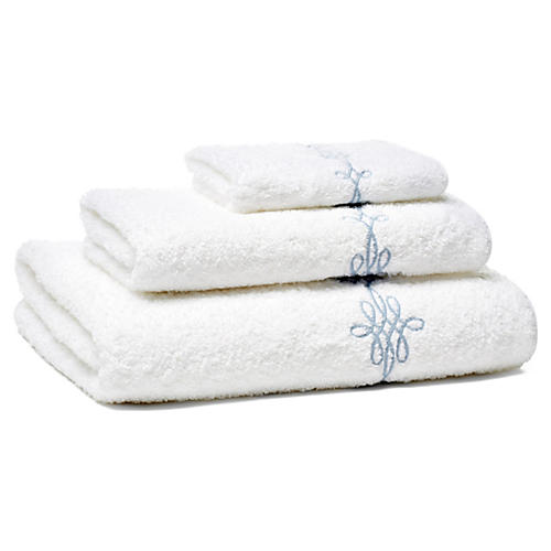 Bernini 3-Pc Towel Set, Lt Blue