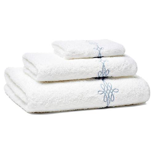 Bernini 3-Pc Towel Set, Lt Blue