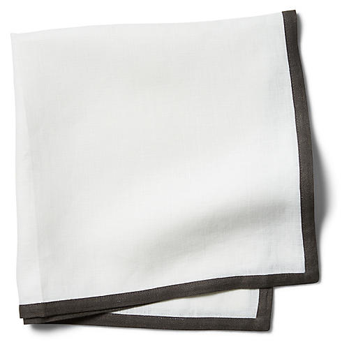 S/4 Border Dinner Napkins, White/Smoke