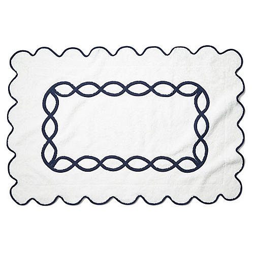 Gianna Bath Mat, Navy
