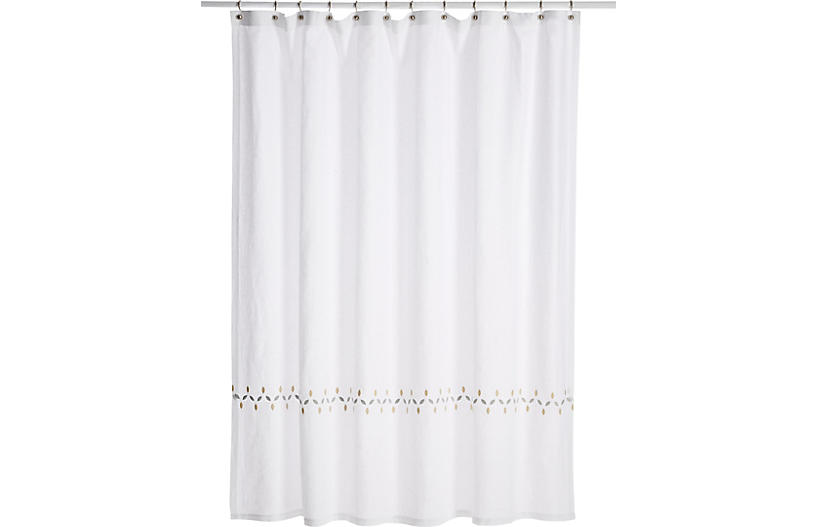 Petala Shower Curtain Silver Champagne New Markdowns