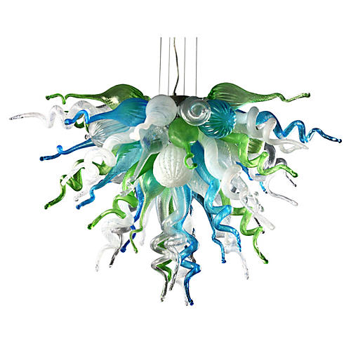 Pacific Chandelier, Blue/Green