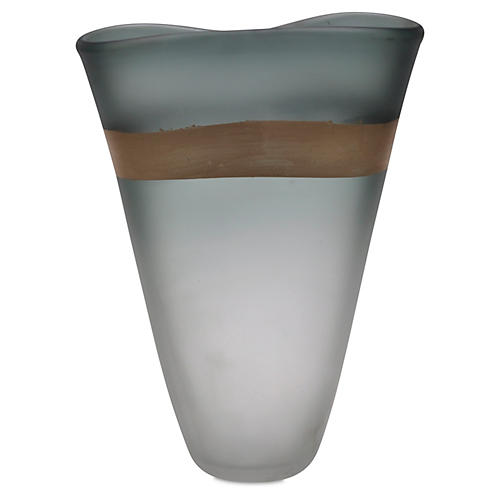 "15"" Gold-Banded Art Glass Vase, Gray"