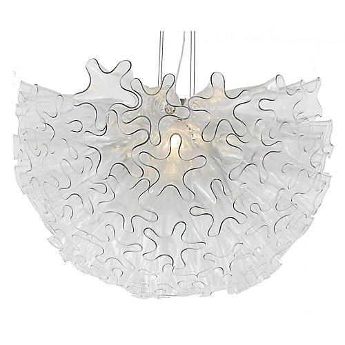 Dahlia Pendant, Clear/Nickel