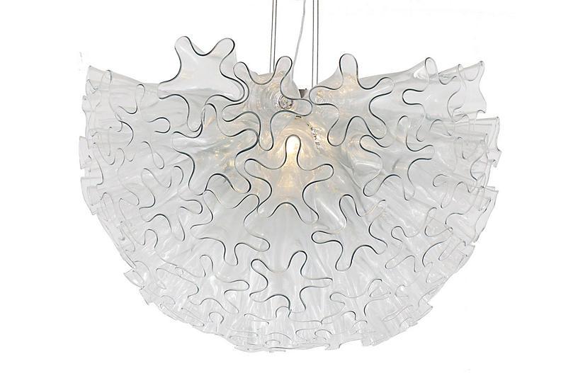 Dahlia Pendant - Clear/Nickel - Viz Glass