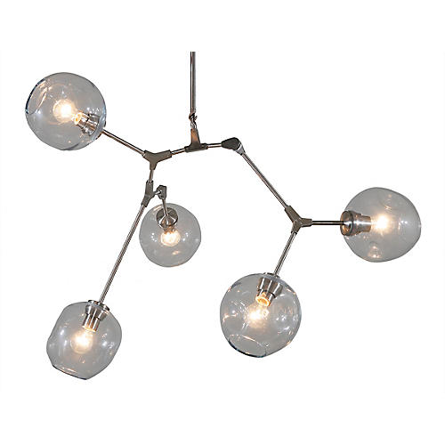 Constellation 5-Light Chandelier, Satin Nickel/Smoke