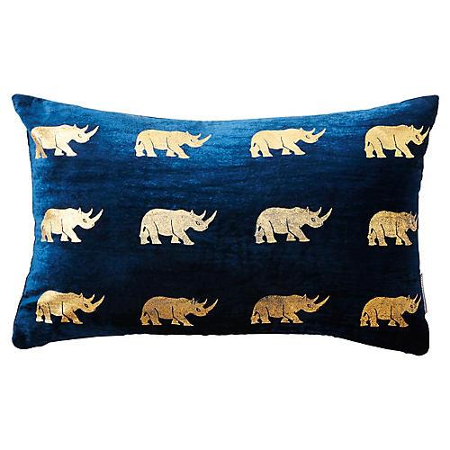 Arusha 12x20 Silk Velvet Pillow, Blue