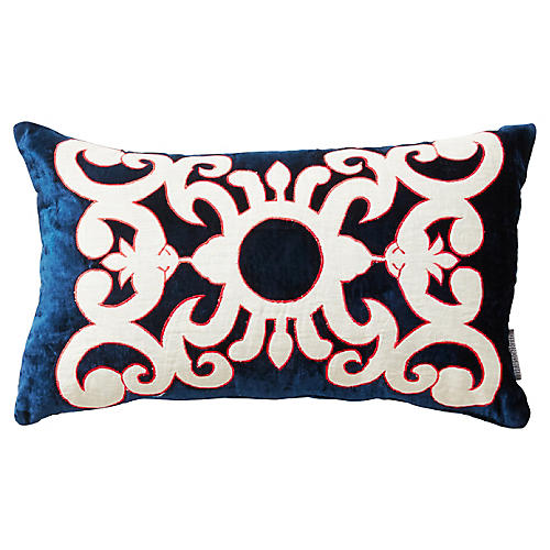 Somerset 12x20 Silk Velvet Pillow, Blue