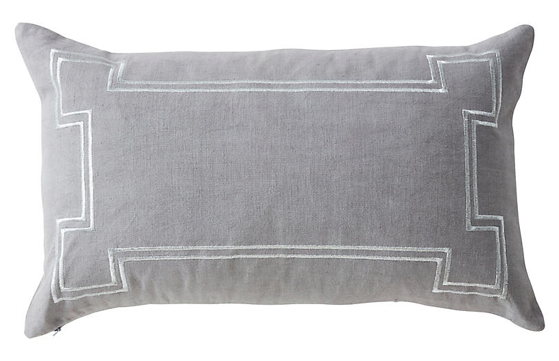 Aria 14x22 Linen Pillow, Gray