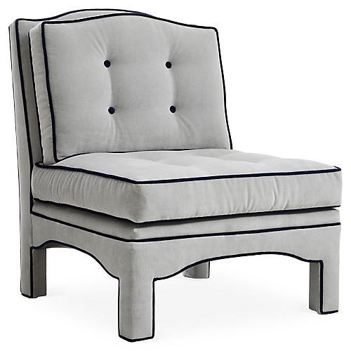 Julien Tufted Slipper Chair, Gray Velvet