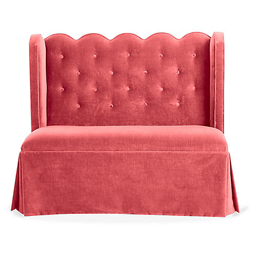 Regina Scallop Banquette, Flamingo Velvet