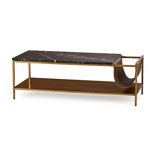 Copeland Coffee Table, Black/Brass