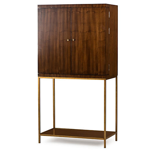 Copeland Bar Cabinet, Walnut/Brass