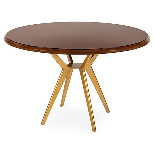 Ethan Round Dining Table, Walnut/Brass