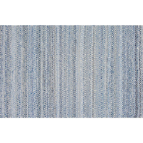 Infinity Flat-Weave Rug, Blue/Ivory