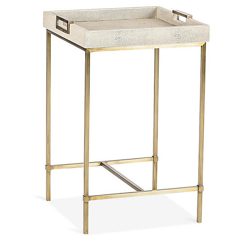 Lexi Square Tray Side Table, Ivory