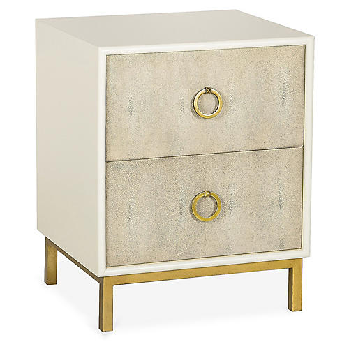 Amanda 2-Drawer Nightstand, Ivory