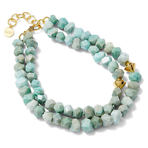 Amazonite Multistrand Necklace, Blue/Light Green