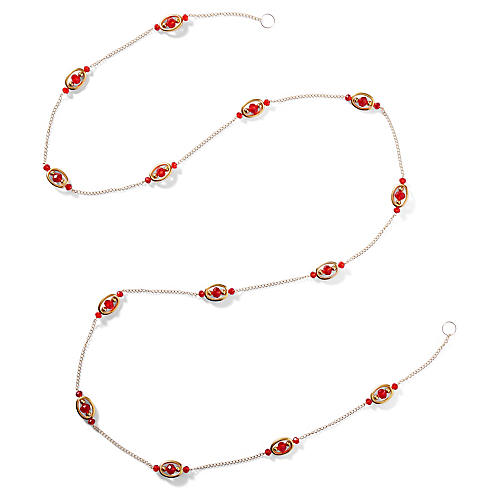 "72"" Medallion Bead Garland, Red/Silver"