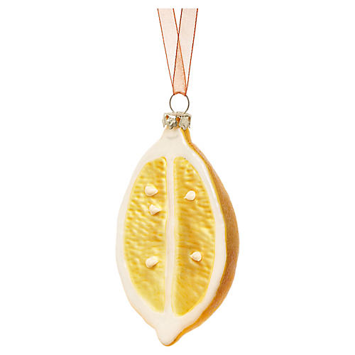 Sliced Lemon Ornament, Yellow