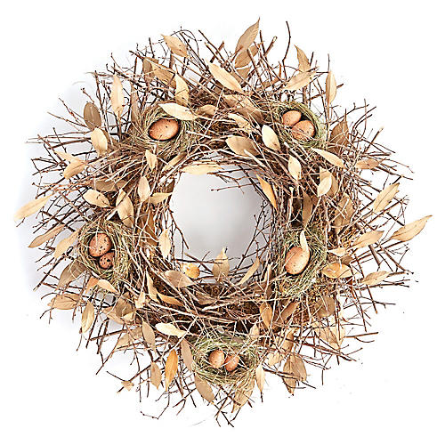 "27"" Birds' Nest Dried Wreath, Light Brown"