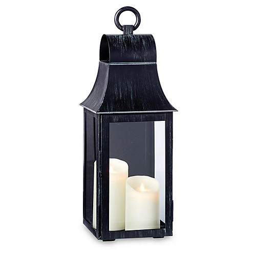 "24"" Geneva Wall-Mount Lantern, Washed Black"
