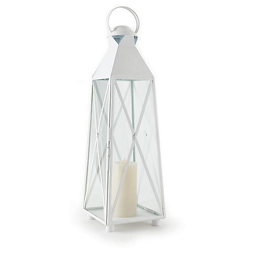 "33"" Newport Tall Outdoor Lantern, White"