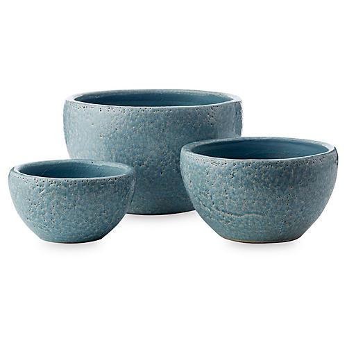 Asst. of 3 Amaya Decorative Bowls, Light Blue