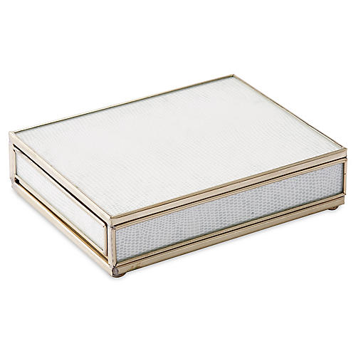 "6"" Lizard Playing Card Box, White/Nickel"