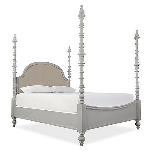 Blakely 4-Poster Spindle Bed, Gray